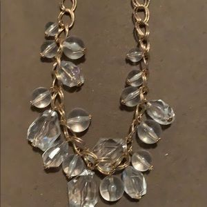 Gold Double Loop w/Clear Chunky Stone Necklace Set